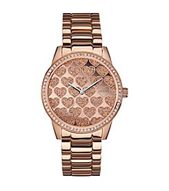 Guess Hearts in Glitz Rose Goldtone Feminine Sport Watch