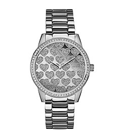 Guess Hearts in Glitz Silvertone Feminine Sport Watch