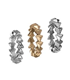 Sam Edelman® Rhodium & Goldtone Three Midi Ring Set