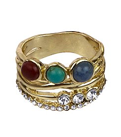 Sam Edelman® Multi-Stone Goldtone Stack Ring