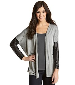 Kensie® Cardigan With Faux Leather Sleeves