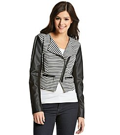 XOXO® Striped Jacket With Faux Leather Sleeves