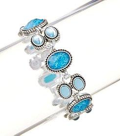 Napier® Blue Tonal Line Silvertone Bracelet in Gift Box