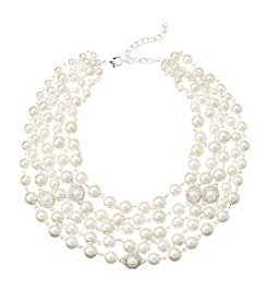Napier® Adjustable Torsade Simulated Pearl & Simulated Crystal Bead Multi Row Silvertone Necklace