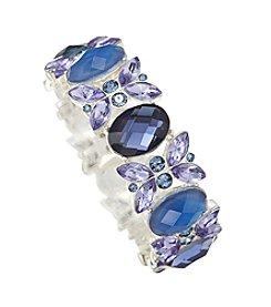 Napier® Stone Stretch Silvertone Bracelet Set