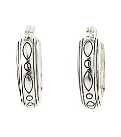 Napier® Antique Etchings Click-It Silvertone Hoop Earrings