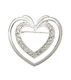 Napier® Open Heart Silvertone Pin in Gift Box