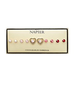 Napier® Boxed Set of Goldtone Heart Motif Interchangeable Stone Earrings Set