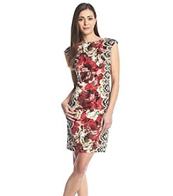 London Times® Petites' Floral Print Sheath Dress