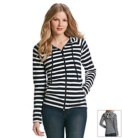 Jones New York Sport® Petites' Stripe Zip Up Hoodie