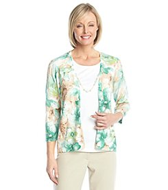 Alfred Dunner® Tivoli Garden Floral Print Layered Look Sweater