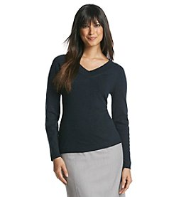Jones New York Collection® Long Sleeve V-Neck Sweater