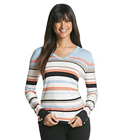 Jones New York Collection® Multi Stripe Long Sleeve V-Neck Sweater