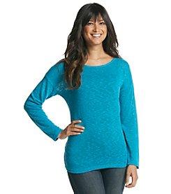 Cable & Gauge® Long Sleeve Scoopneck Sweater