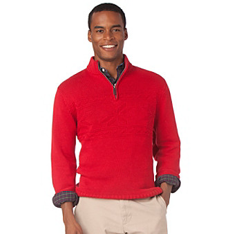 UPC 888602071396 - Chaps Fashion 1/4 Zip Texture Sweater XL, Red ...