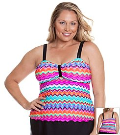 Beach Diva® by Malibu Plus Size Fancy Tribe Babydoll Tankini Top