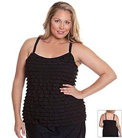 Beach Diva® by Malibu Plus Size Fancy Frills Tankini Top
