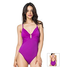 Bleu|Rod Beattie® American Hustle Plunge One Piece Swimsuit