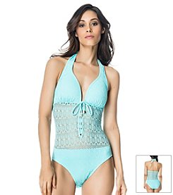 Bleu|Rod Beattie® Sneak Peek Halter One Piece Swimsuit
