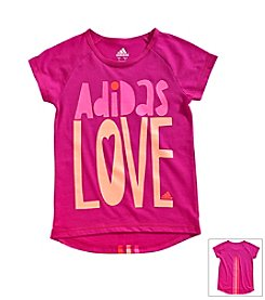 adidas® Girls' 2T-6X Drop Tail Raglan Tee