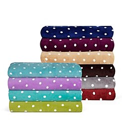 Elite Home Products All Seasons Dot Plush Print Blankets