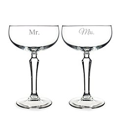 Cathy's Concepts Mr. & Mrs. Champagne Coupe Toasting Flutes