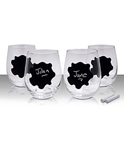 Epicureanist™ Chalkboard Set of 4 Stemless Wine Glasses