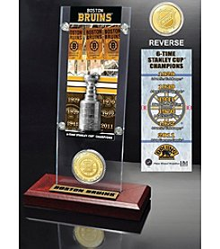 NHL® Boston Bruins Six-Time Stanley Cup Champions Ticket and Bronze Coin Desktop Acrylic