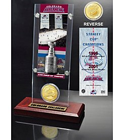 NHL® Colorado Avalanche Two-Time Stanley Cup Champions Ticket and Bronze Coin Desktop Acrylic