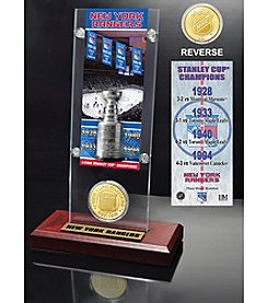 NHL New York Rangers 4-Time Stanley Cup Champions Ticket and Bronze Coin Desktop Acrylic