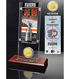 NHL® Philadelphia Flyers Two-Time Stanley Cup Champions Ticket and Bronze Coin Desktop Acrylic