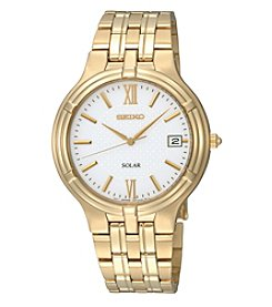 Seiko® Men's Goldtone White Dial Solar Dress Watch