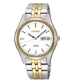 Seiko® Men's Two-Tone White Dial Solar Calendar Watch *