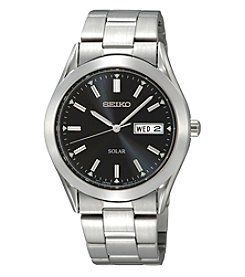 Seiko® Men's Silvertone Black Dial Solar Calendar Watch *