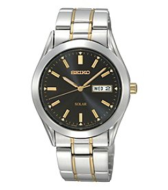 Seiko® Men's Two-Tone Black Dial Solar Calendar Watch