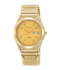 Seiko® Men's Goldtone Solar Dress Calendar Watch