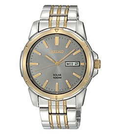 Seiko® Men's Two-Tone Charcoal Dial Solar Calendar Watch