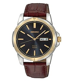 Seiko® Men's Two-Tone Leather Strap Blue Dial Solar Watch