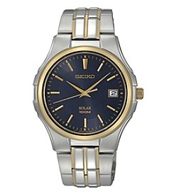 Seiko® Men's Silvertone Solar Bracelet Watch