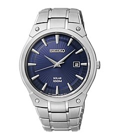 Seiko® Men's Silvertone Blue Dial Solar Dress Watch