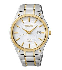 Seiko® Men's Two-Tone Solar Calendar Dress Watch
