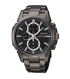 Seiko® Men's Black Ion Finish Solar Chronograph Watch
