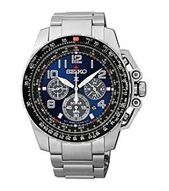 Seiko® Men's Silvertone Stainless Steel Solar Chronograph Watch