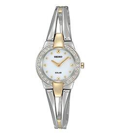 Seiko® Women's Two Tone Crystal Bezel Solar Watch