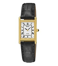 Seiko® Women's Leather Strap Solar Dress Watch