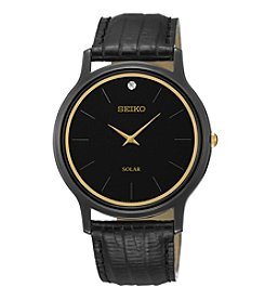 Seiko® Men's Black Ion Finish Stainless Steel Solar Watch