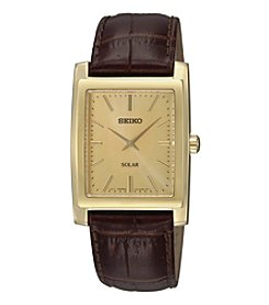 Seiko® Men's Brown Leather Strap Solar Dress Watch