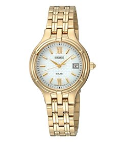 Seiko® Women's Goldtone Solar Calendar Watch