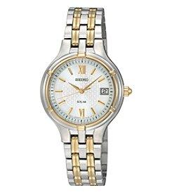 Seiko® Women's Two-Tone Solar Calendar Watch