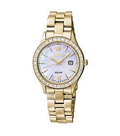 Seiko® Women's Goldtone Crystal Bezel Calendar Watch